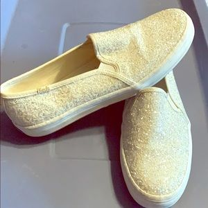 Kate Spade New York Keds, White Glitter Slip On